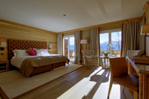 A deluxe room at the Hotel Royal in Crans-Montana.