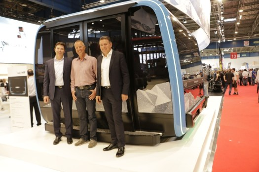 Anton Seeber, Markus Hasler and Martin Leitner in the presentation of the Leitner Ropeways Zermat Swaroski 3S cablecar.