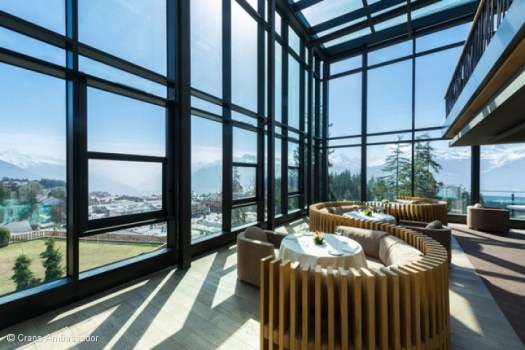 The whole hotel Crans Ambassador offer views of the Valais Alps.