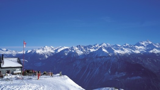 Crans - Montana skiing region in Canton Valais, near the Restaurant Les Violettes at an altitude of 2250 m. What does Climate Change will mean to a Mountain Nation such as Switzerland by 2060.  Copyright by Switzerland Tourism   Byline: ST/swiss-image.ch