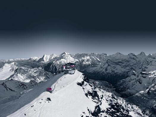 The Schilthorn Panorama Restaurant has a 360 views of the Alps. Photo: Schilthorn/Piz Gloria