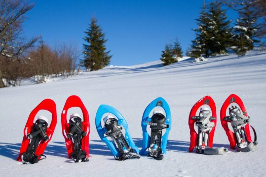 Snowshoes in the snow, also can be rented with the new agreement between CheckYeti and Skiset. Photo: CheckYeti/Skiset.