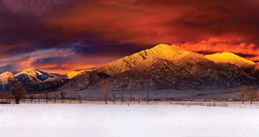 A red sky in Taos - Photo: Ski Taos.Taos Regional Airport Launches Taos Air – an Air Service to Dallas, Austin