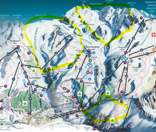Zermatt Free riding map.