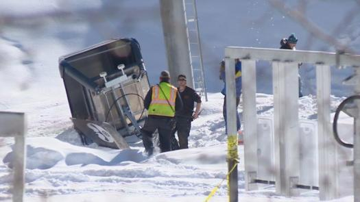 A new Leitner-Poma empty gondola cabin from Copper Mountain Crashes to the Ground.