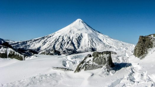 Another shot of the Lanin volcano, a classic view that you see in Neuquen, also from San Martin de Los Andes and its ski resort, Chapelco. The climber who had fallen in a crack of the Lanín volcano died.