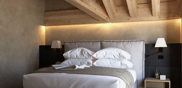 Double room at Le Massif, the new address in Courmayeur. Where to stay in Courmayeur.