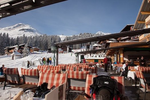 A marvellous place for lunch, the terrace at the Montana Oberlech - The Must-Read Guide to Lech.
