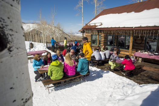 A stop of a bit of lunch. Snowmass Opens Thanksgiving Day with 570 Acres of Terrain. Photo: Aspen Skiing Company.