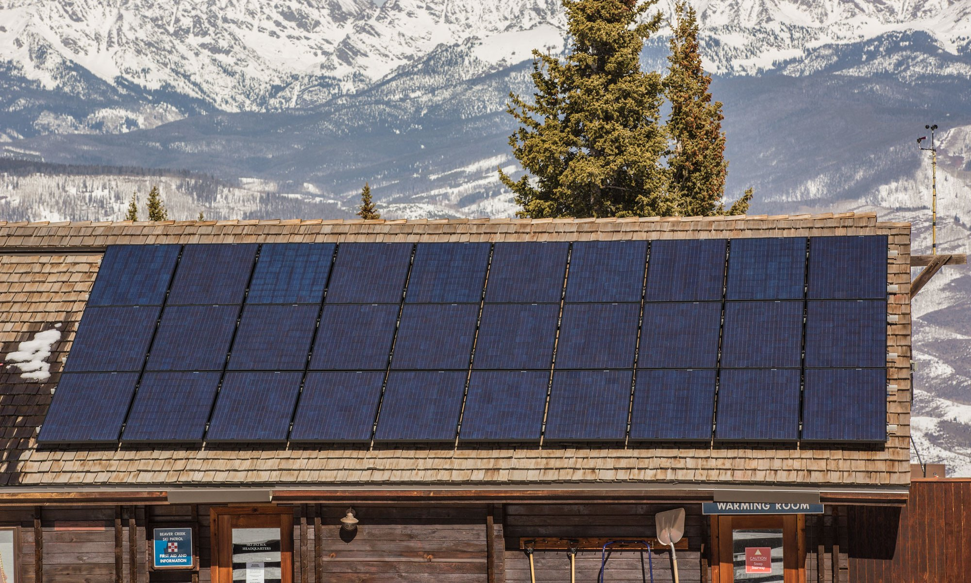 Beaver Creek solar panel. Vail Resorts Announces Long-Term Wind Energy Contract And Plan To Eliminate Conventional Single-Use Dining Plastics In Its 'Commitment To Zero'. Photo: Vail Resorts.