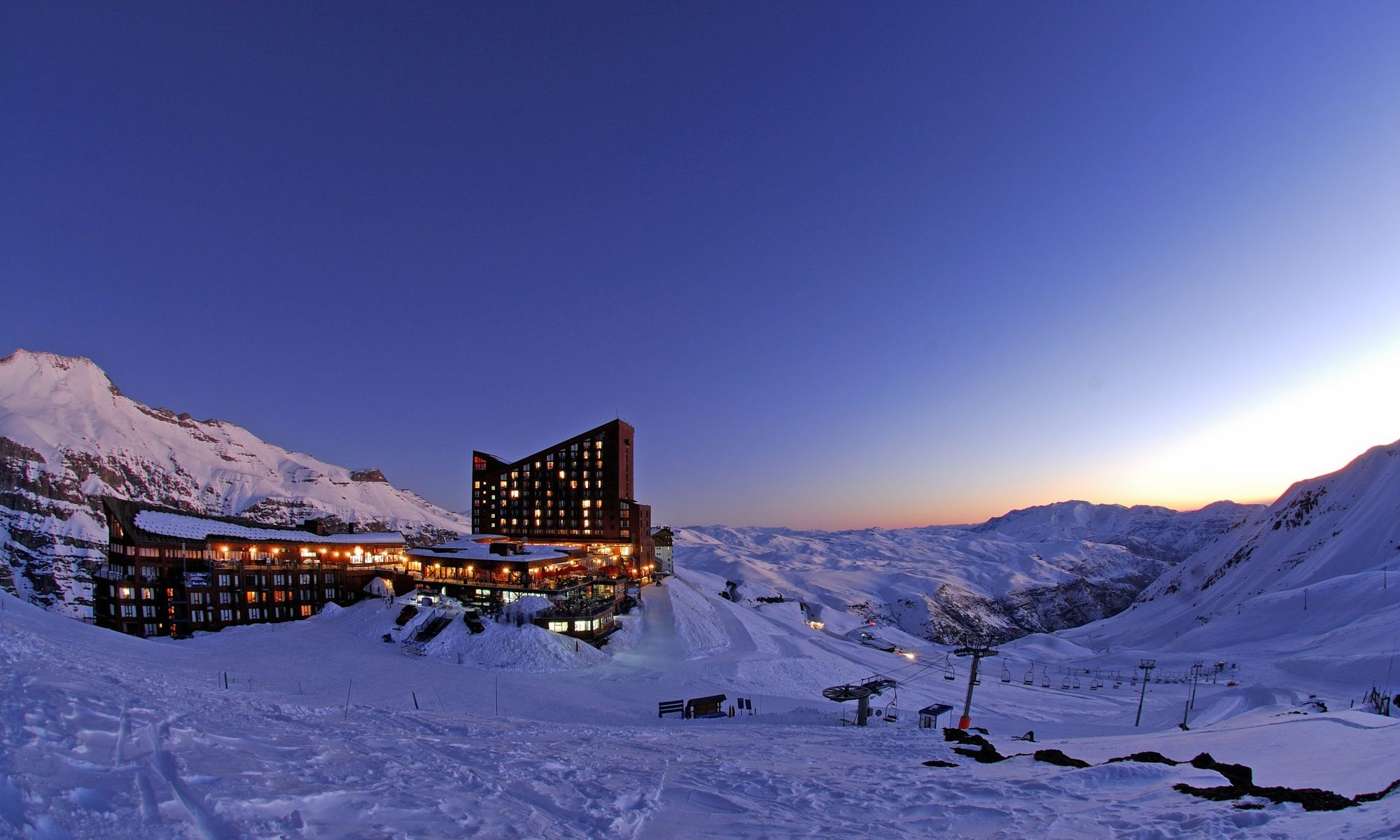 A Day Trip to Valle Nevado from Santiago City. Photo: Valle Nevado on a beautiful night.