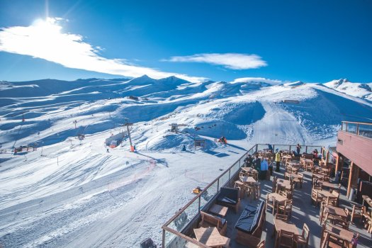 A nice terrace with a view - Valle Nevado Resort. Valle Nevado is now part of the IKON Pass. Photo Valle Nevado.