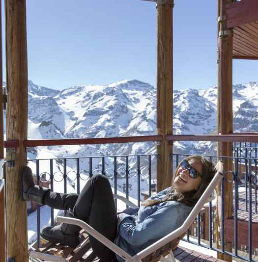 A lovely balcony to watch the Andes in the afternoon. Valle Nevado is now part of the IKON Pass. Photo: Valle Nevado.