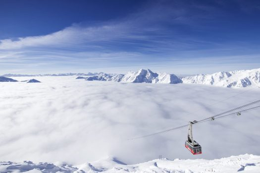 Val Senales glacier on top of the clouds. Season Opening's at the different ski resorts of Sudtirol and Christmas Markets.