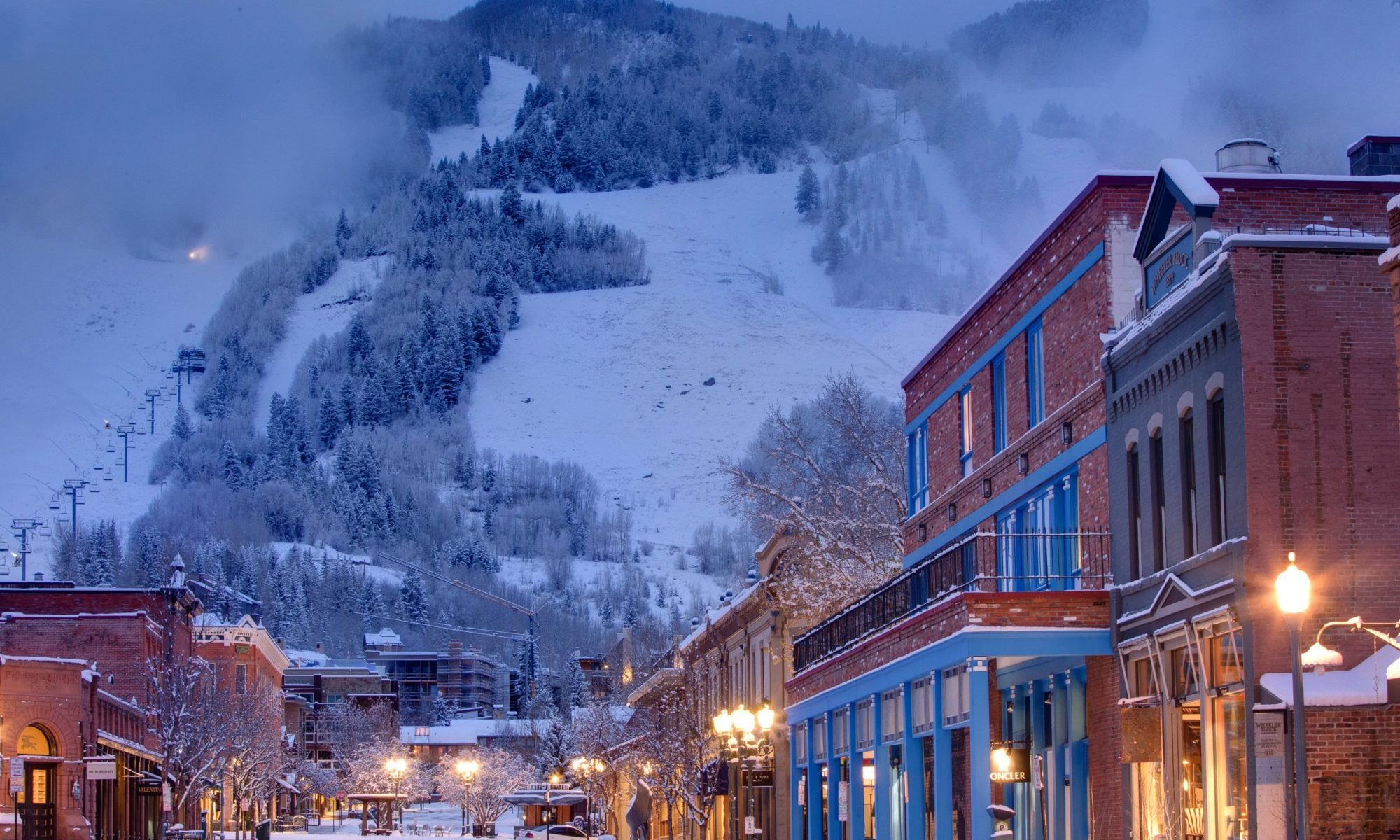 Aspen Mountain from the town of Aspen. 20 Inches of New Snow at Aspen Snowmass in the Last Seven Days.