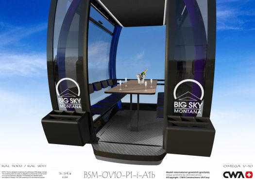 Two Omega V gondolas will be dedicated Dining Cars, allowing guests to sit around a table installed in the cabin for a premier dining experience, proving to the the smallest restaurant in North America. Big Sky photo. World's Most Technologically-Advanced Chairlift Debuted at Big Sky Resort.