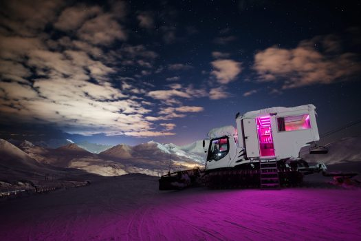 The Over the Moon experience - sleep in a converted snowcat high above the mountain. What is new at La Plagne for the 2018 – 19 ski-season.