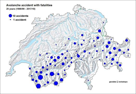 Fig. 2: Regional distribution of the fatal avalanche accidents in Switzerland (20 years). For each of the more than 120 subregions, which are the basis for the regionalization of the avalanche bulletin, the number of fatal accidents was counted. The larger a symbol, the more accidents occurred in this region. SLF's Swiss Long-Term Statistics of Avalanche Victims .