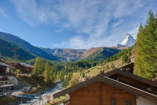 The New Address in Zermatt – Penthouse Zen, photo courtesy of Chalet Zen. View from the Penthouse Bedroom.