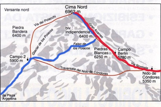 Aconcagua routes. A group of Bolivian 'Cholitas' women to climb Aconcagua.