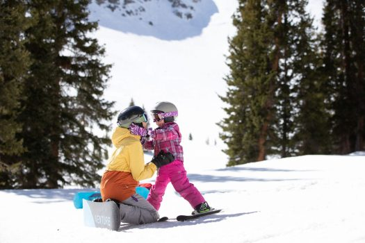A mum and her kid enjoying quality family time at Arapahoe Basin. Photo: Dave Camara. Arapahoe Basin. A-Basin quits the Epic Pass cash cow due to their lack of parking.