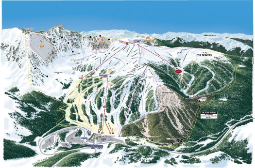 Arapahoe Basin ski map. A-Basin quits the Epic Pass cash cow due to their lack of parking.