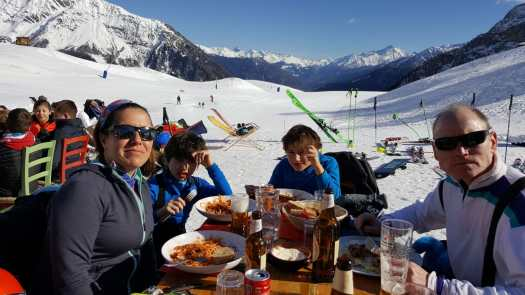 Lunch at Maison Vielle - Photo by Jo Cornwell. The Half Term Family Ski Holiday that did not result as planned.