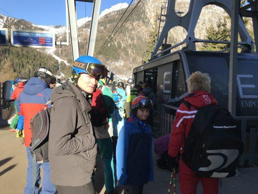 Getting up the Armani cablecar to Plan Chécrouit in Courmayeur. Photo: The-Ski-Guru.