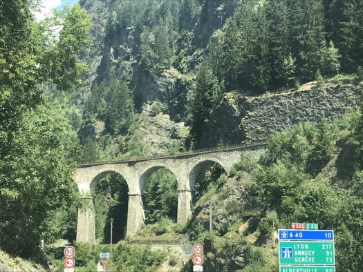 The viaduct near Les Houches on the Autoroute du Mont Blanc. Our Route des Grandes Alpes to cross from France into Italy.