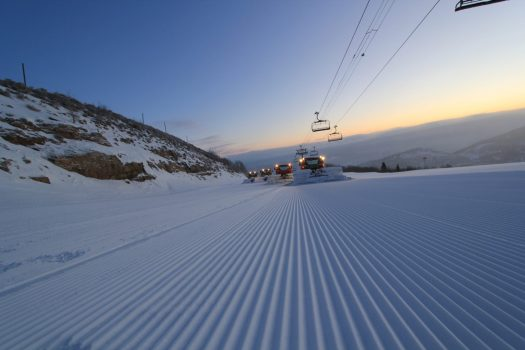 Park City groomed slope. Photo: Vail Resorts. How ski grooming patterns can affect visibility in the snow.