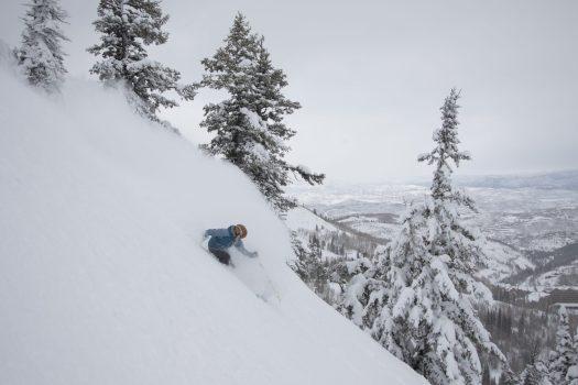 Ski Utah Team Athletes skiing in Deer Valley on a powder Day-Photo-ChrisPearson- Ski Utah. Utah had its best Ski Season Ever in 2018-19.