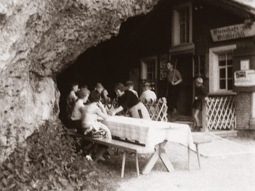 Cliffhanging restaurant opens for the season in Switzerland: Äscher Mountain Restaurant. Historical photo of Äscher Mountain Restaurant.