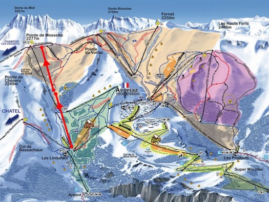 New lifts in the Portes du Soleil ski map. Map from Remontees Mecaniques Forum. New lifts and piste for Portes du Soleil for the 2019-20 ski season.