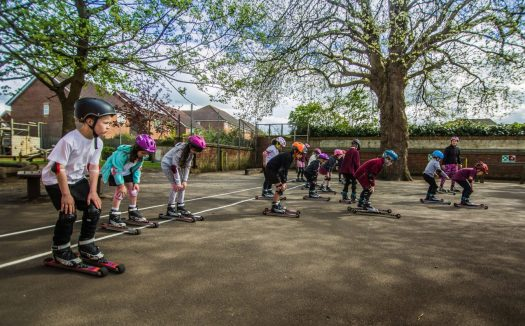 Rollerski session for Thameside Primary. Photo: Snowsport England. National Schools Snowsport Week is Back This Month.