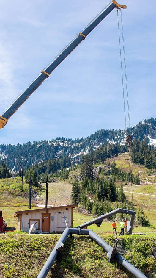 Stevens Pass: A Frame is being lifted up for Daisy lift. Photo: Vail Resorts. Summer Works at Stevens Pass to get a better skiers' and boarders flow.