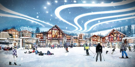 Chalet on the American Dream Mall ski slope. Rendering by American Dream Mall. Indoor ski-slope finally opening within American Dream Mall in October.