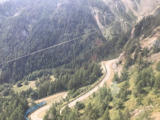 Up the gondola you have lovely views of the winding road up the mountains. Dolonne Gondola. Photo: The-Ski-Guru. Our summer in the mountains – one week in Courmayeur.