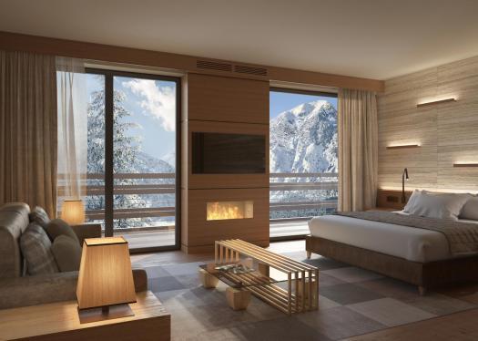 Room at the Lefay Resort & Spa Dolomiti. Pinzolo/Madonna di Campiglio has opened its first 5 stars luxury hotel- Lefay Resort & Spa Dolomiti.