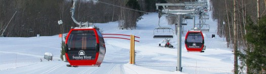 Chondola in Sunday River. Different types of lifts on resorts (I can think of) and how to ride them.