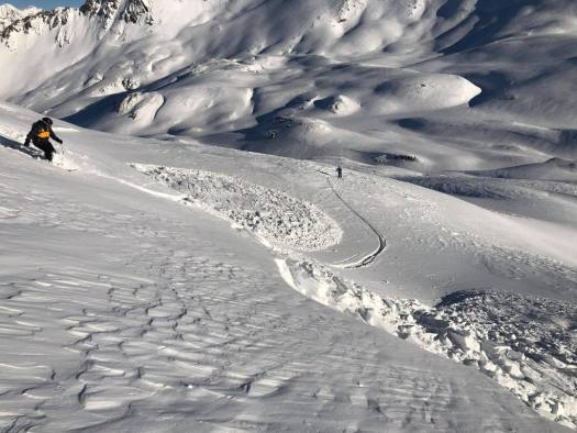 A skier triggers a slide. Photo. Henry's Avalanche Talk. Off-Piste snow report for December 13, 2019 for the Northern French alps.