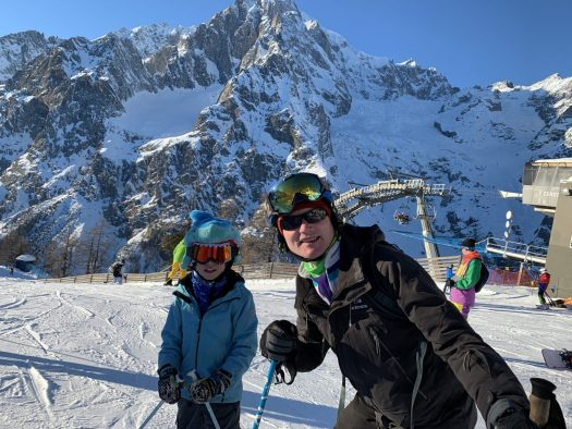 Posing with the Mont Blanc on the background. Our Christmas holidays in the mountains with the kids and our dog! Courmayeur, Aosta.