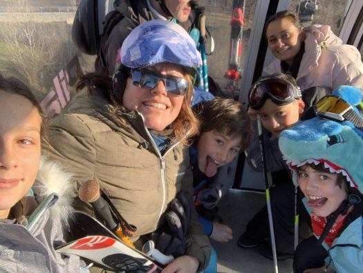 Going up the gondola with our friends. First day of skiing for them, but their eldest daughter. Our Christmas holidays in the mountains with the kids and our dog! Courmayeur, Aosta.