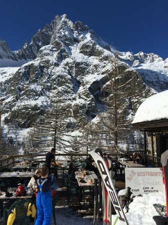 Ristorante La Fodze - views from the terrace. A Foodie Guide to on-Mountain Dining in Courmayeur.
