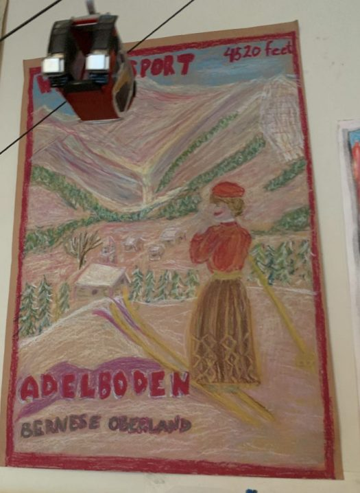 Another oil pastels poster- Adelboden. The Art of the Mountains.