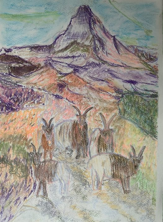 Some alpine ibex posing in front of the Matterhorn. pastels.