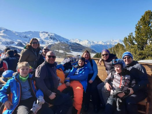 Part of the group at La Baraka, top of Chamolé in Pila. Our half term ski-safari holiday based in the Valdigne of Aosta Valley- Courmayeur, Pila and La Thuile.
