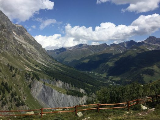 View of the mountains and Courmayeur from Pavillion. Aiguille du Midi vs Punta Helbronner – which one you should do?