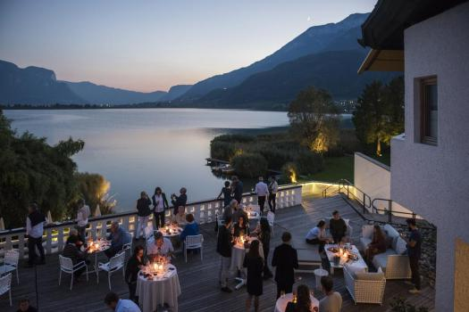 The terrace at the Seehotel Ambach in Caldaro al Lago. A Must-Read Guide to Summer in South Tyrol.