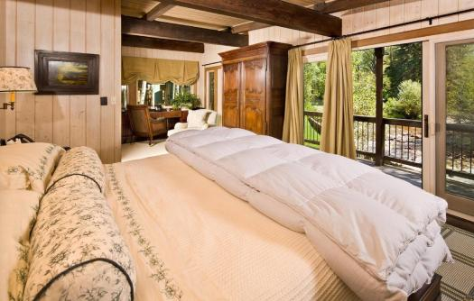 One of the bedrooms at this riverfront property in Aspen. Book your stay in this house in Aspen here. Aspen Snowmass is opening for the Summer Season.