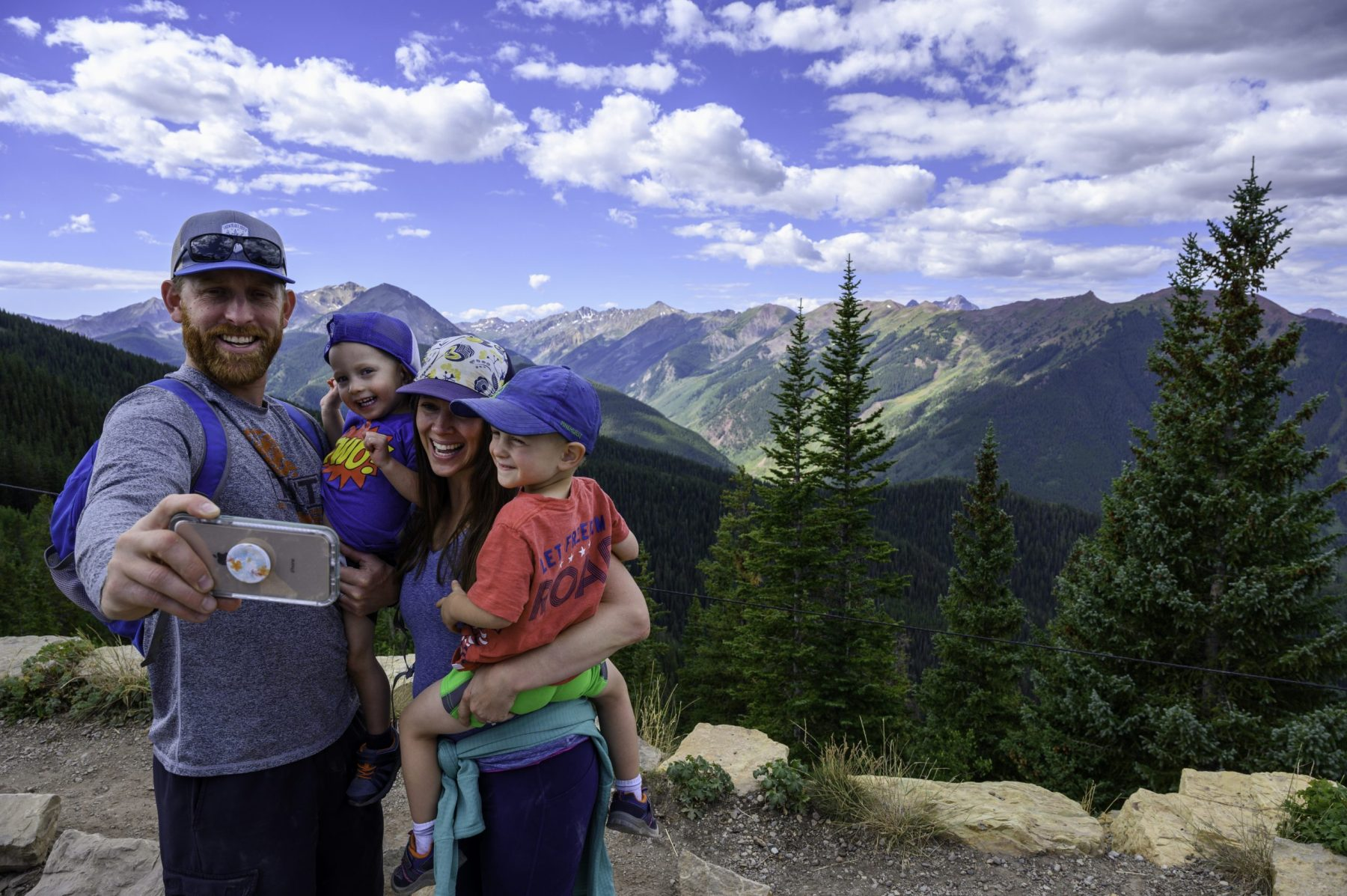 A family enjoying the outdoors in Aspen Mountain. Copyright: Aspen Skiing Company. Aspen Snowmass is opening for the Summer Season.